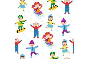 Winter kids seamless pattern vector illustration.