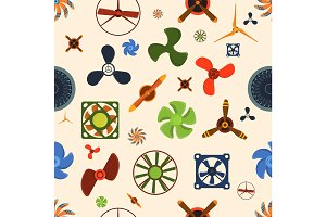 Fans seamless pattern vector illustration.