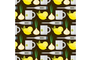 Flu influenza seamless pattern vector.