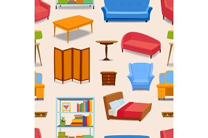 Furniture icons vector seamless pattern