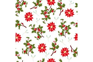 Christmas berry flower vector seamless pattern.