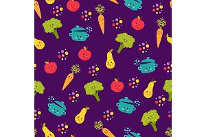 Cute food characters seamless pattern vector.