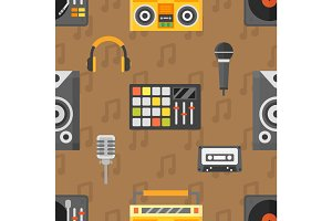 DJ seamless pattern vector.