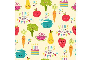 Kids food menu background vector illustration