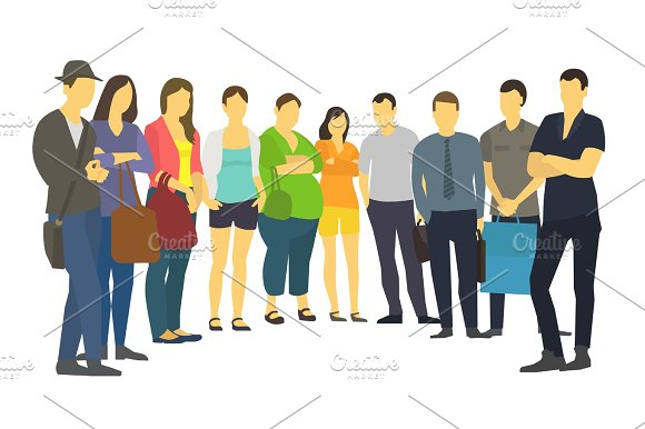People Are Standing In A Semicircle Set Many Ordinary Modern Adult Human Male And Female Person