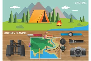 Hiking flat horizontal banners with journey planning. Travelers and camping vector illustration