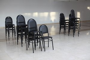 empty black chairs