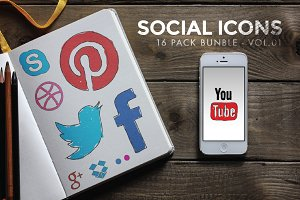 Social Icon Doodles - Vol.01