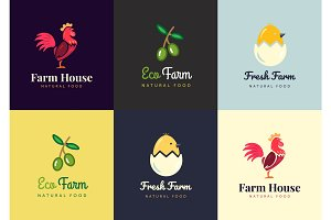 Fresh farm logos set