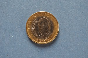 1 euro coin, European Union, Spain over blue