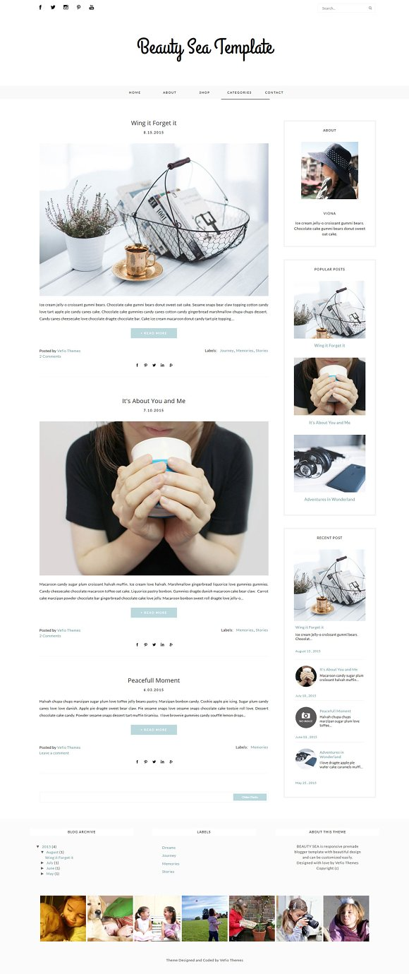 Blogger Template Beauty Sea Website Templates Creative Market