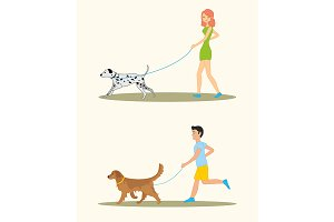Man and woman walking the dogs