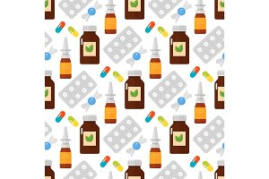 Pills seamless pattern vector illustration.