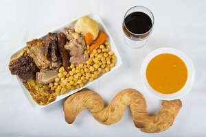 Cocido a Spanish stew with assortment of meat and chikpeas