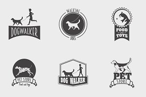 Set of pet shop, dog walker logos