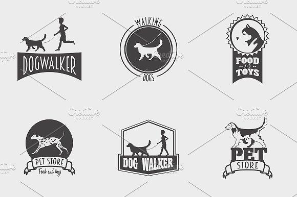 Set Of Pet Shop Dog Walker Logos