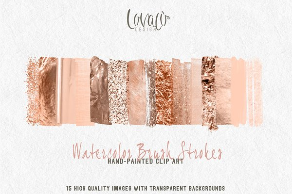 Rose Gold Watercolor brush strokes