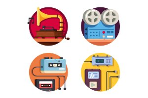 Music player vintage retro icons
