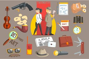 Detectives And Their Equipment Objects Set