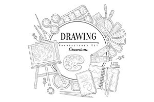 Drawing Set Vintage Sketch