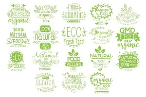 Organic Food Calligraphic Label Collection