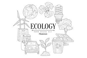 Ecology Icons Vintage Sketch Set