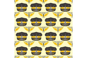 Taxi badge seamless pattern vector illustration.