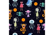 Cute funny cartoon monsters seamless pattern
