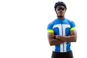 Portrait of cyclist crossing his arms