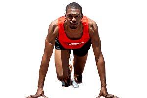 Athlete man in the starting block