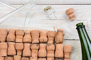 Empty Champagne Bottle and Corks