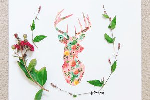 Watercolor Deer Flowery-Filled