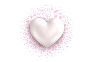 Glossy white heart with cloud of flat love symbols