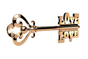 Abstract shiny golden key