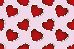 seamless pattern red hearts