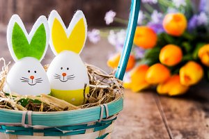 Easter rabbits and tulips