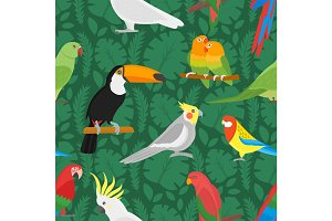 Seamless vector parrots birds pattern.