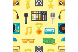 Seamless pattern with music icons vector illustration.