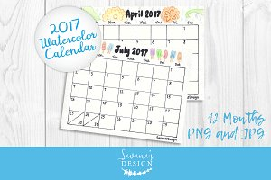 2017 Calendar Watercolor