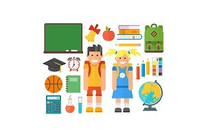 School symbols and kids vector set.