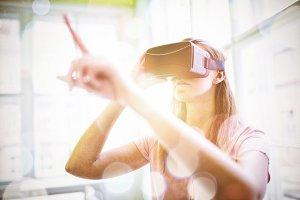 Woman using a virtual reality device