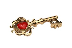 Golden Key old style with a stone