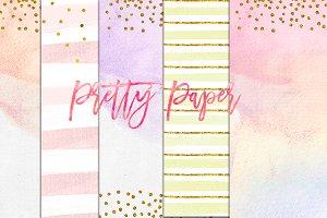 rainbow confetti gold pastel paper