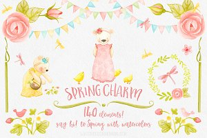 Spring Charm Floral Watercolors