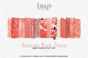 Summer Coral Brush Strokes Clipart