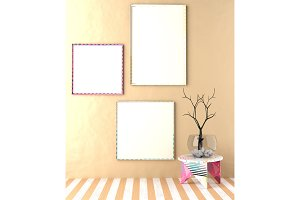 Coloured frames and stool
