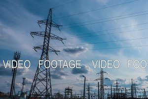 Electricity power station at a sunset. Power plant timelapse