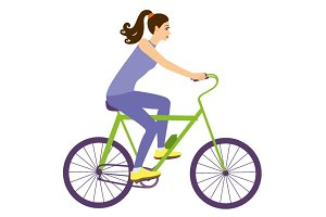 Girl on bicycle vector