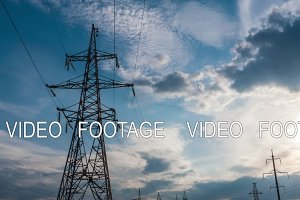 Electricity power station at a sunset. Power plant timelapse 3