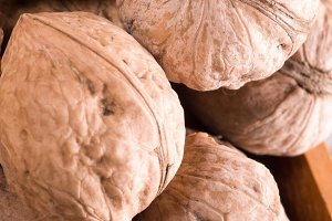 Macro view of a group of old walnuts
